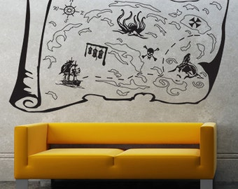 Vinyl Wall Decal Sticker Pirate Treasure Map  GFoster145B