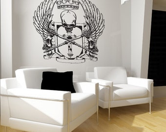 Vinyl Wall Decal Sticker Grunge King Skull Wings  Item829s
