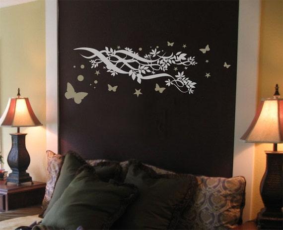 Vinyl Wall Art Decal Sticker Butterfly Stars Branch item 109A