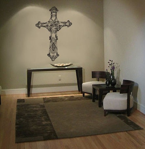 vinyl wall decal sticker religious christian cross. Black Bedroom Furniture Sets. Home Design Ideas