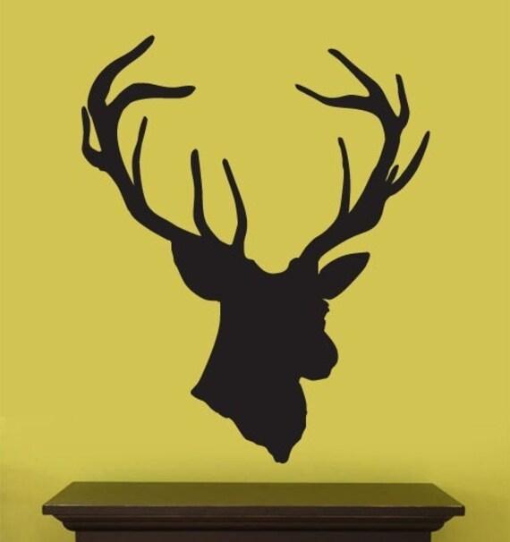 Vinyl Wall Decal Sticker Hanging Deer Head Silhoutte item 201A