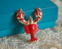 Vintage 1950s Brooch // 50s 60s Red Lobster Brooch // Surrealist Jewelry