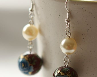 Blue Roses in Wine and Light Yellow Pearls Earrings