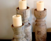 Handmade  Candle Holders created from Vintage Wooden Corbels