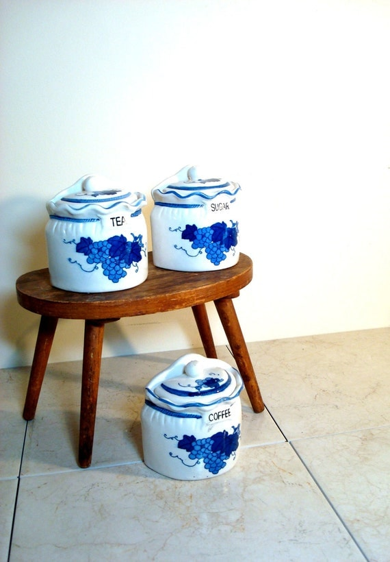 Vintage Hand Painted Blue and White Tea, Sugar and Coffee Canister Set