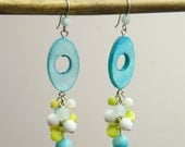 OUT OF TOWN - Essence of Earth -  Shell Stone Colorful Cluster Earrings - Pastel Sky Blue Aqua Seafoam Turquoise Lime Green White