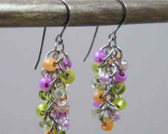 Frutti Pastel Cluster Earrings- Pink Peach Sherbet Orange Lime Spring Green Silver Small Colorful Pastel Beaded Earrings