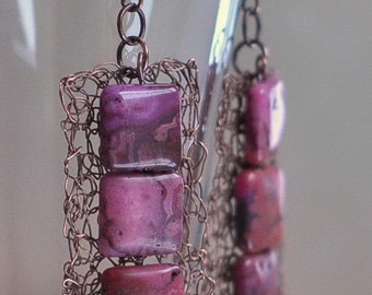 Earrings - wire crochet dangle earrings wearable art jewelry handwoven antiqued copper lace with Pink Crazy Lace agates