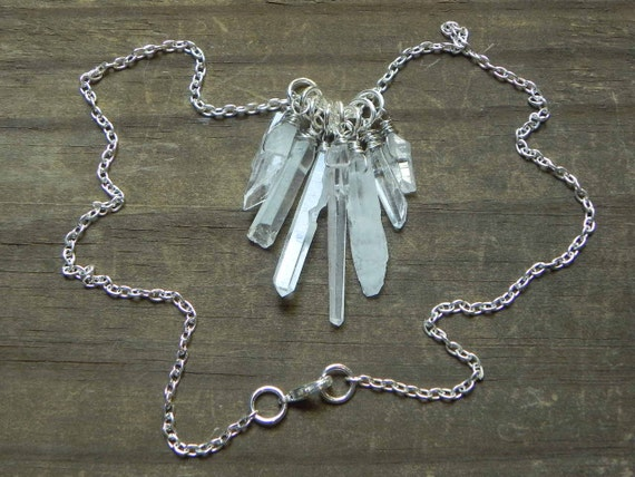 crystal point statement necklace, mineral statement necklace, rock crystal cluster necklace, rough crystal necklace, raw crystal necklace