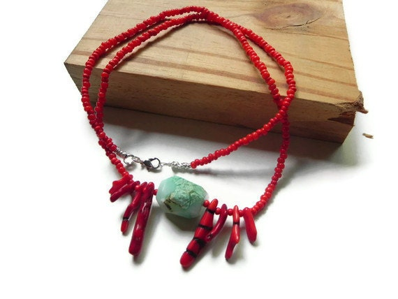 Raw Chrysoprase beaded statement  necklace, red coral and rough Chrysophrase  necklace, beaded coral necklace, modern tribal necklace