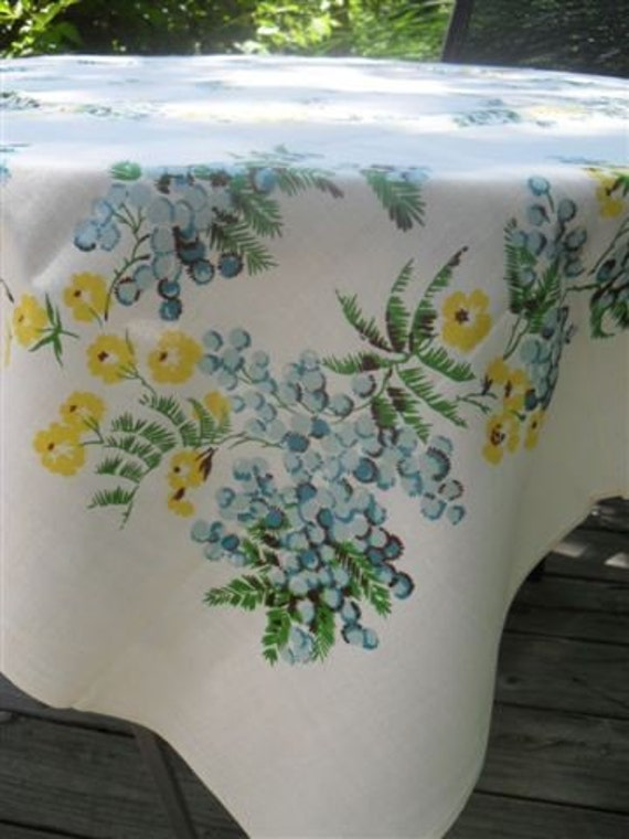 Vintage Tablecloth -Blue and Yellow Floral on White -  new with tag - Leacock Quality Hand Prints - Mimosa