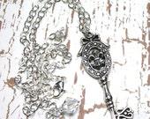 ON SALE- Vintage Silver Key Necklace -The  Fleur de Key Necklace - Last One - All Sterling Silver