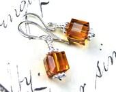 ON SALE - Swarovski Crystal Cube Earrings in Golden Topaz - Sterling Silver and Swarovski Crystal Earrings