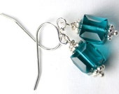 ON SALE - Swarovski Crystal Cube Earrings in Teal Blue  - Indocolite  - Handmade with Sterling Silver and Swarovski Crystal