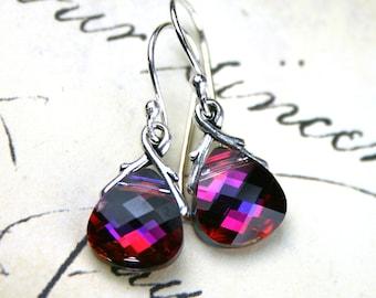 Swarovski Briolette Crystal Earrings in Volcano - Handmade with Swarovski Crystal and Sterling Silver Earwires