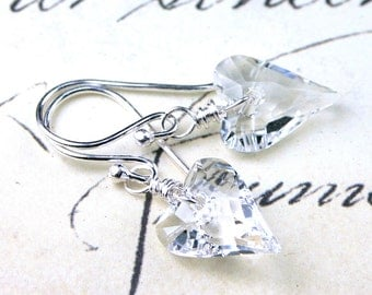 Wild Heart Earrings - Wire Wrapped Swarovski Crystal Heart Earrings in Crystal Clear - All Sterling Silver