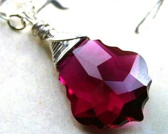 Ruby Red Swarovski Baroque Crystal Necklace - Swarovski Crystal Wire Wrapped with Sterling Silver