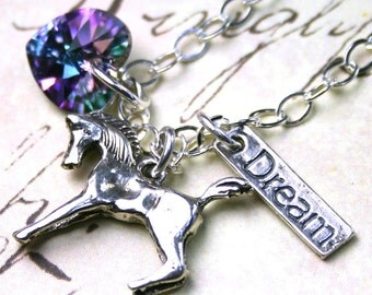 The Equestrian Dream Necklace in Vitrail Light - Horse Pendant - Swarovski Crystal and Sterling Silver