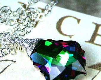 Emerald Rainbow Crystal Necklace -Swarovski Crystal Baroque Necklace in Pink and Green Electra - Wire Wrapped with Sterling Silver