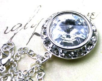 ON SALE Crystal Diamond Pendant - Swarovski Crystal Rivoli and Rhinestone Halo Necklace -Handmade with Swarovski Crystal and Sterling Silver