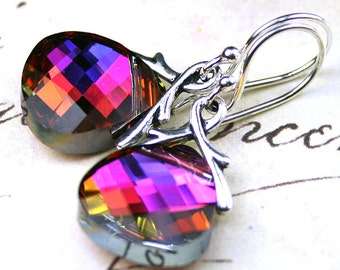 Swarovski Briolette Crystal Earrings in Volcano- Rainbow - Handmade with Swarovski Crystal and Sterling Silver Earwires