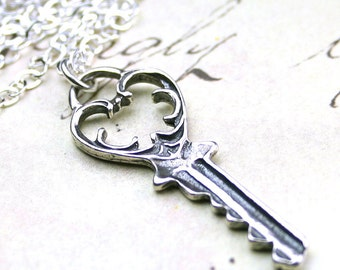 Silver Key Pendant - Sterling Silver Vintage Swirled Heart Key Necklace
