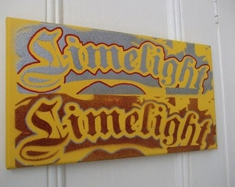 Limelight typography painting,stencil art,spray paint,yellow,silver,canvas,urban,lettering,dark red,rectangle,wall art,home,living,design