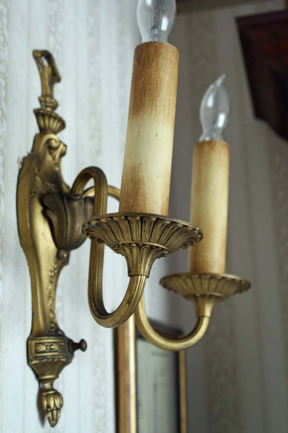 Vintage Lighting Wall Sconce Double Candle Electrical