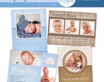 Baby Boy 5x7 BIRTH ANNOUNCEMENT Collection - Photographer Templates