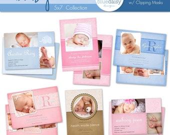 5x7 Baby Announcements (Set 1)  - Photographer Templates