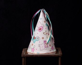 Fabric Party Hat-Dogs on Pink-Children-Party Favor
