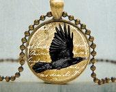Raven Art Pendant | Raven Necklace | Bird Necklace| Black Bird Necklace | No. 5008