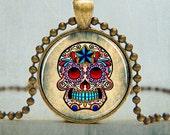 Sugar Skull Pendant - Day of the Dead Skull Art Pendant - Mexican Art Jewelry - Goth Necklace - Día de los Muertos Pendant - No. 5018
