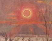 1900 Rare Antique ECLIPSE print, a solar eclipse, astronomical print,  bright colors,