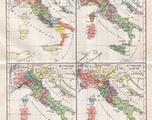 1900 Antique MAP print of  ITALY, plane of the history of Italy from 1000 to 1866