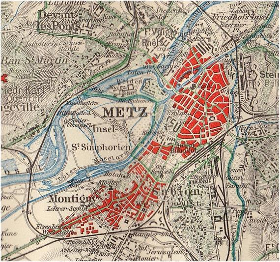 1900 Antique CITY MAP Of Metz, Germany
