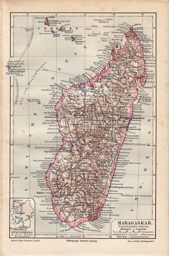 1900 Antique  MAP print of MADAGASCAR , Indian Ocean of the southeastern coast of Africa.