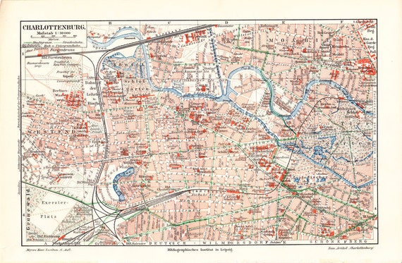 1908 Antique CITY MAP print of CHARLOTTENBURG, a locality of Berlin within the borough of Charlottenburg-Wilmersdorf