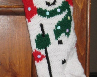 Knitted Personalized Red Snowman Christmas Stocking