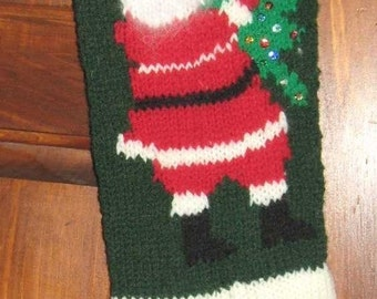Knitted Personalized Santa Christmas Tree Knit Stocking