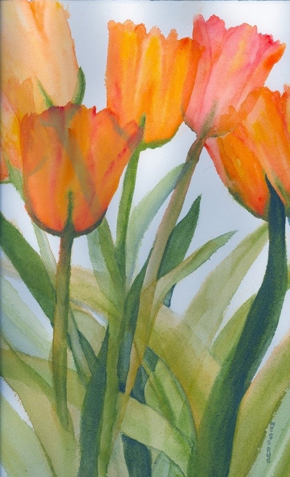 "Citrus Tulips; matted 5 x 7 "" watercolor print, gift bag, card, Mother's Day Card"