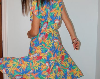 Vintage 40s/50s Inspired Tropical Rainbow Butterfly Dress Housewife