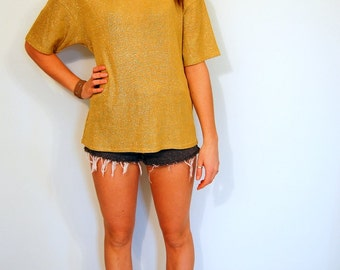 Vintage 80s Gold Metallic Top