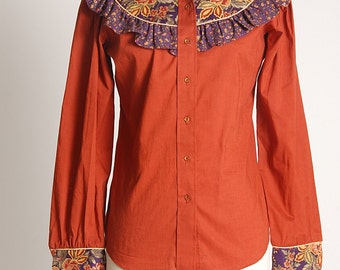 Vintage 70s WESTERN PASLEY TOP Blouse