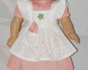 Peach Print Dress and Pinafore American Girl