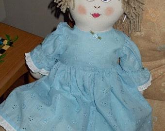 Rag Doll Elizabeth in Blue Eyelet Dress