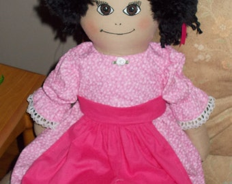 Rag Doll Tabitha in Pink Dress and Apron