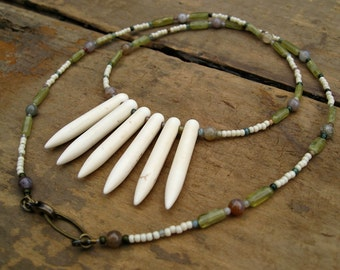 Pastel Bohemian Spike Necklace, feminine tribal white howlite spike necklace with light yellow and green beaded chain