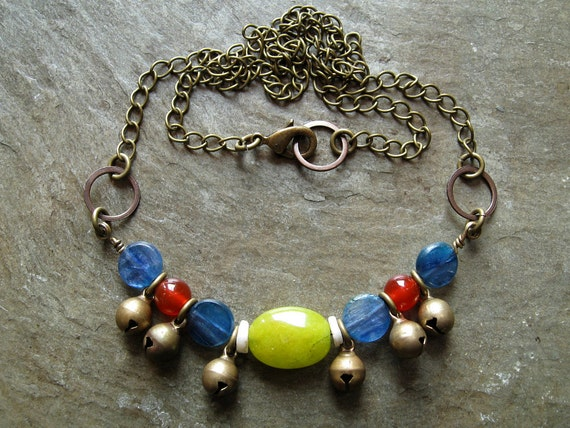 Colorful Tribal Boho Necklace in blue red and yellow with vintage brass bells, Bohemian primary colors jewelry