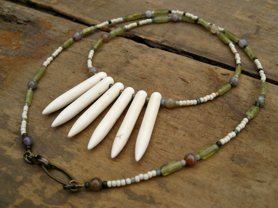 Bohemian Spike Necklace, feminine pastel tribal white howlite spike necklace with light yellow and green beaded chain
